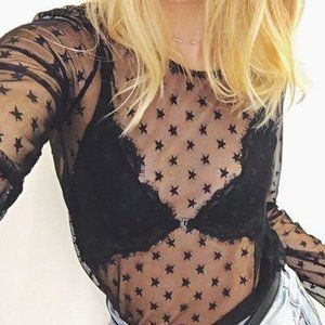 Zara Black Star Mesh Top Medium